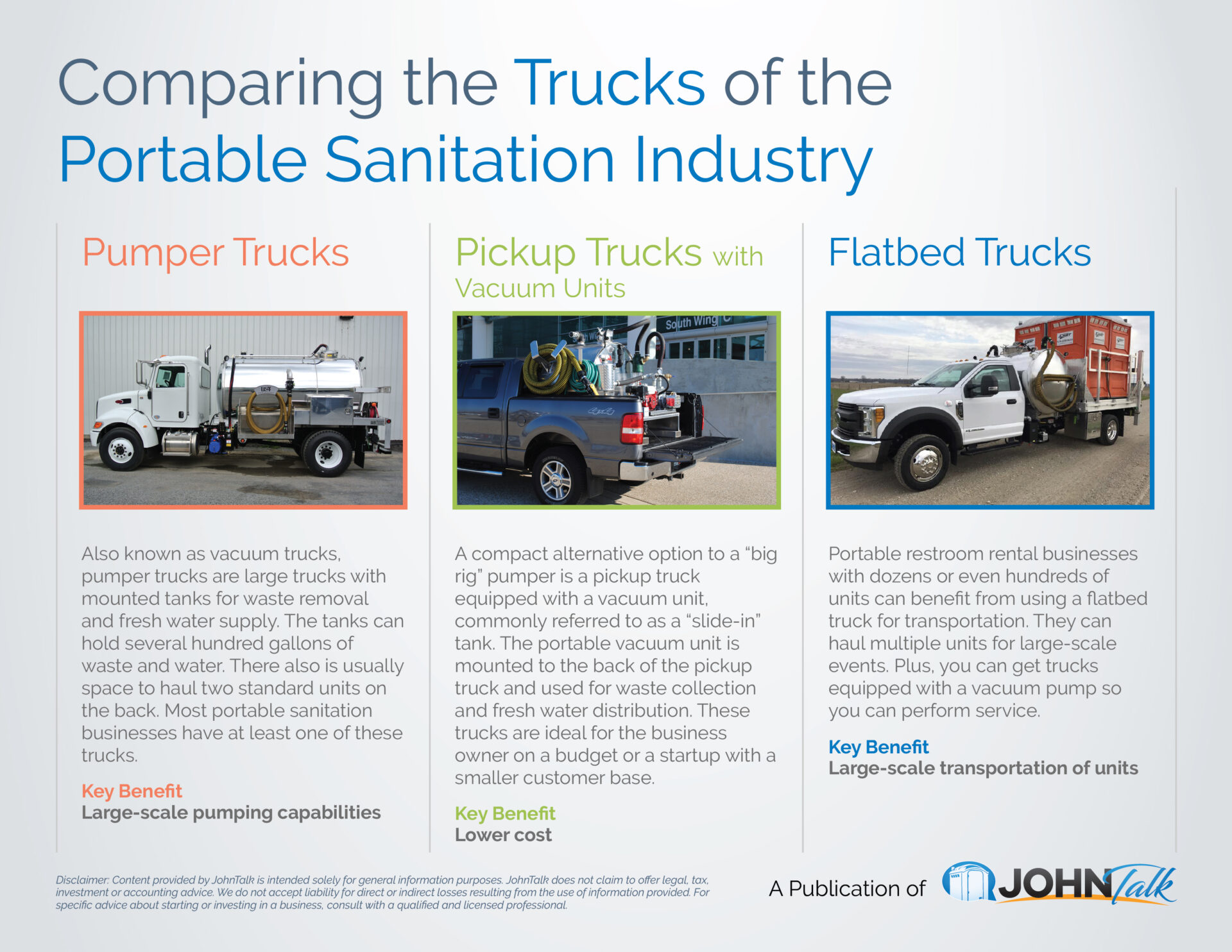 Comparing the Trucks of the Portable Sanitation Industry
