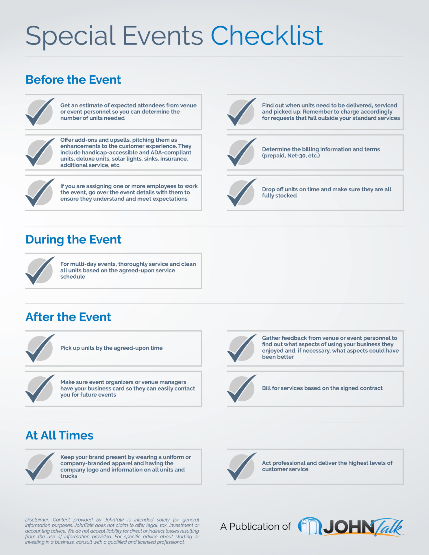 Special Events Checklist