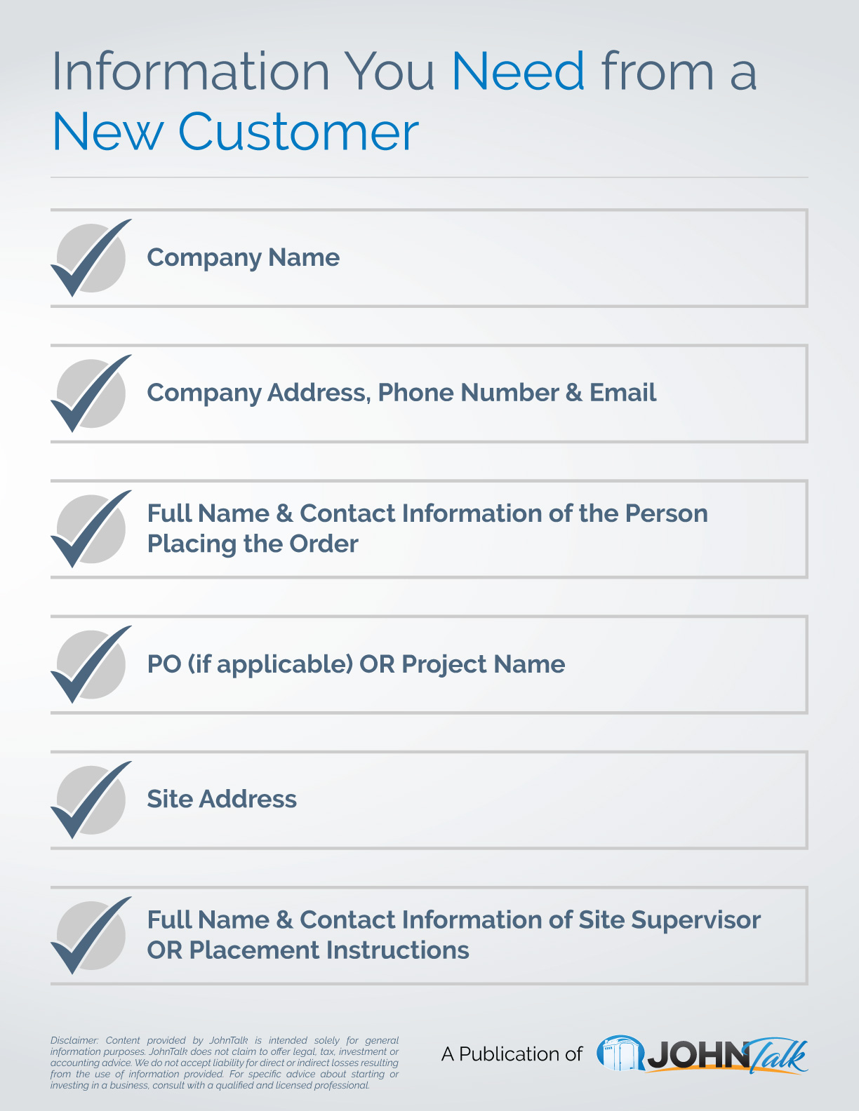 Information You Need from a New Customer