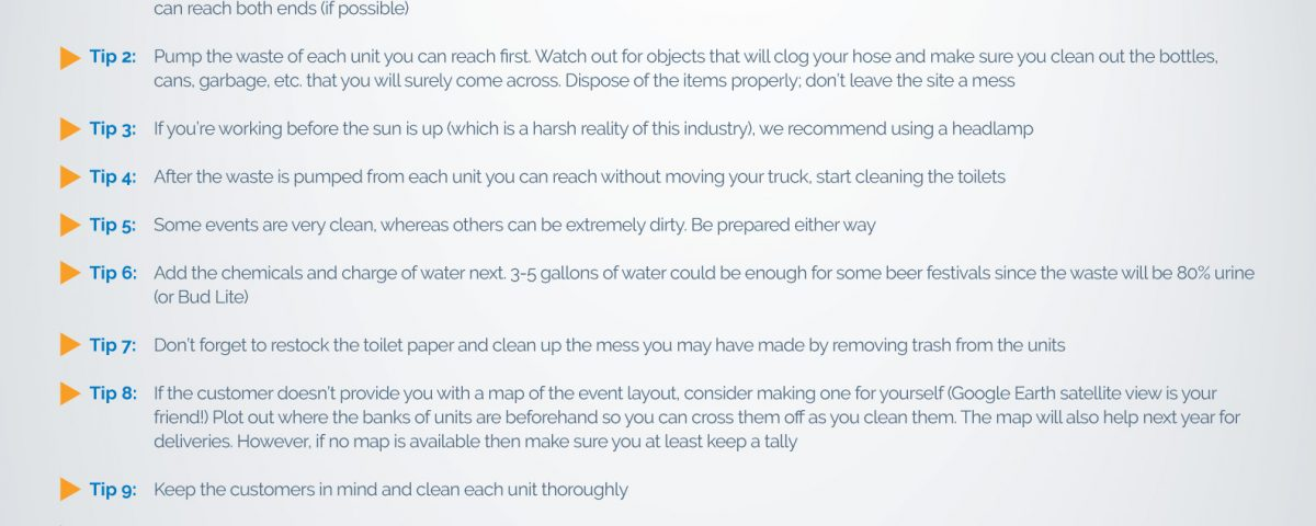 Tips for Cleaning a Large Bank of Portable Restrooms
