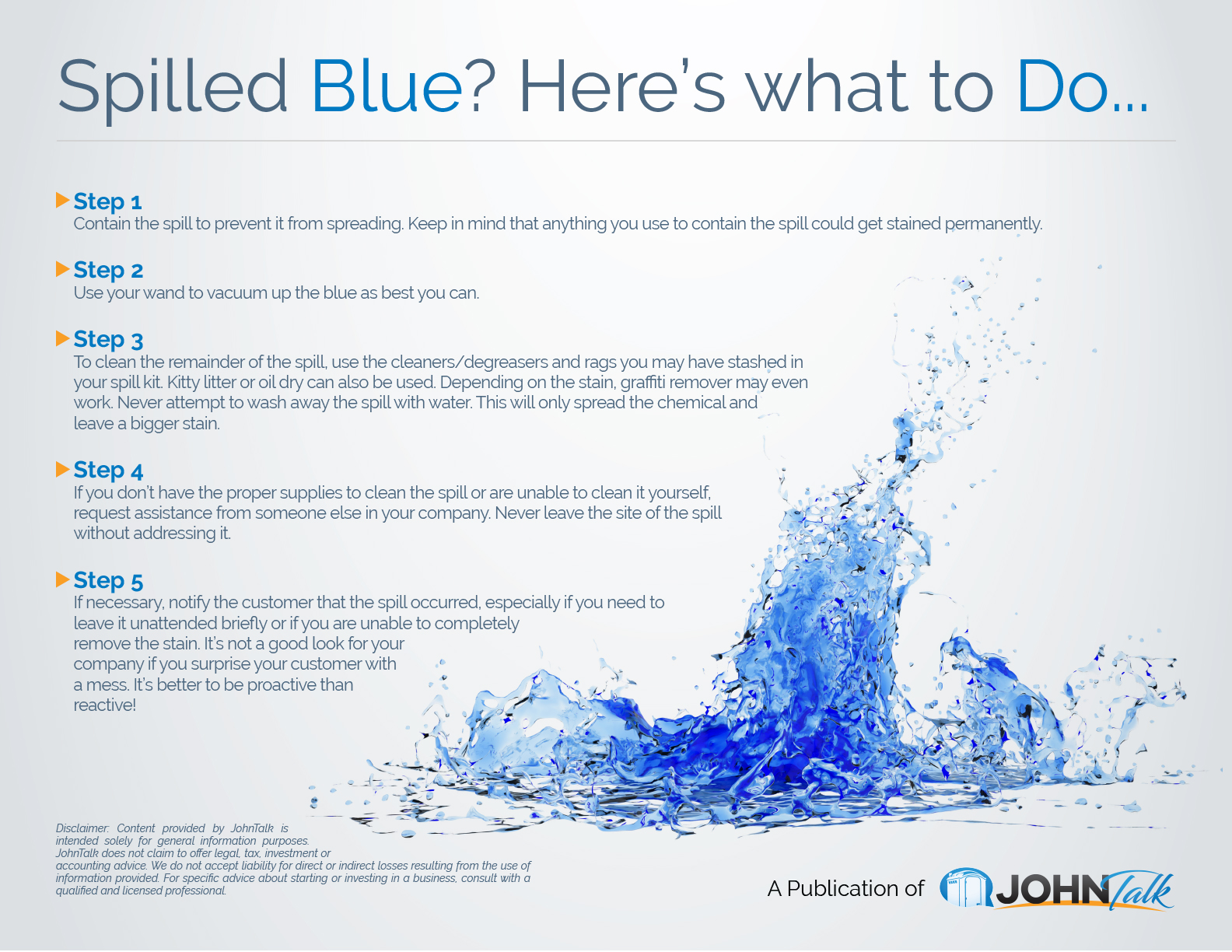 Spilled Blue Here's What To Do